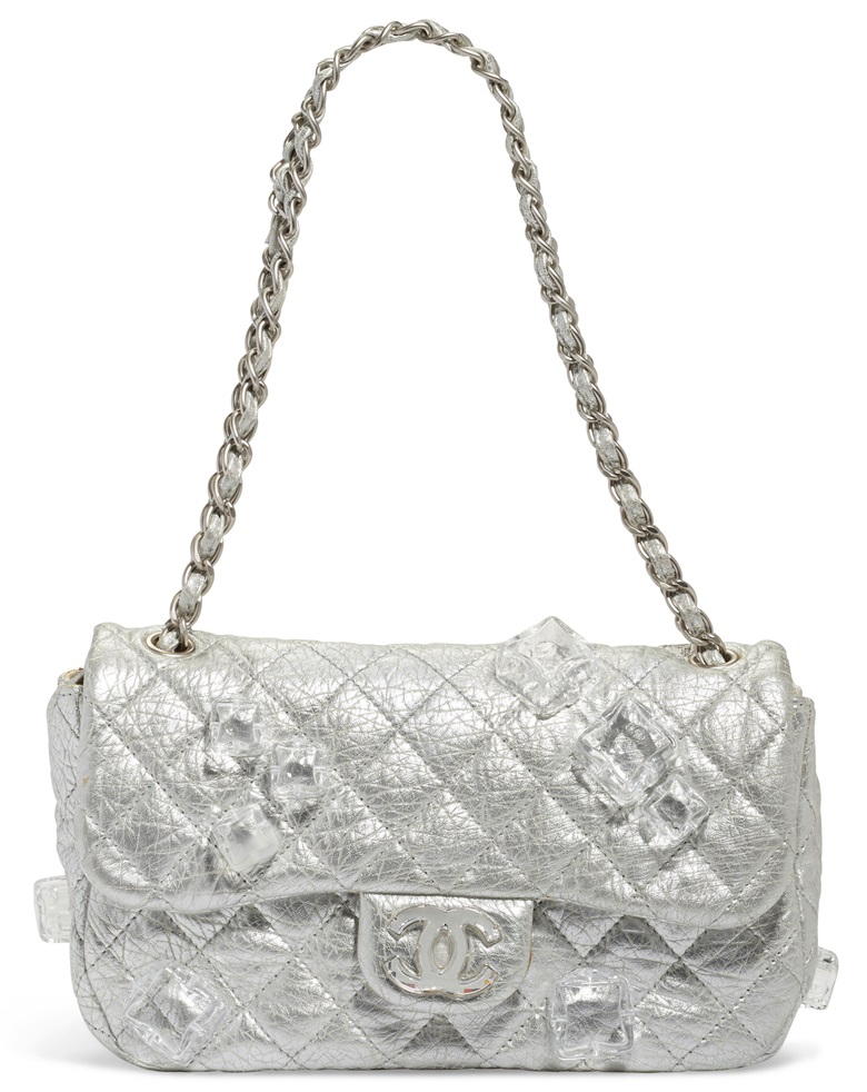 522ed7a84ca3 A limited-edition silver lambskin leather Jumbo single flap bag with ice  cube embellishment and