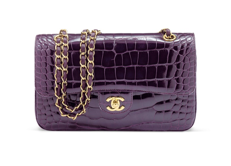 3b07ffafbc3b A shiny amethyst alligator medium double flap bag with gold hardware, Chanel,  2010-