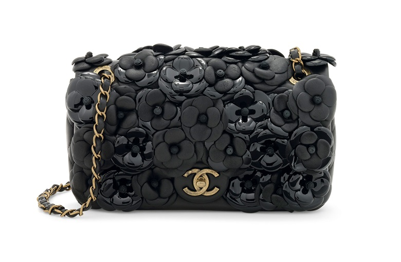 eb0788df5eff0d A limited-edition black lambskin & patent leather Camellia small double flap  bag with distressed