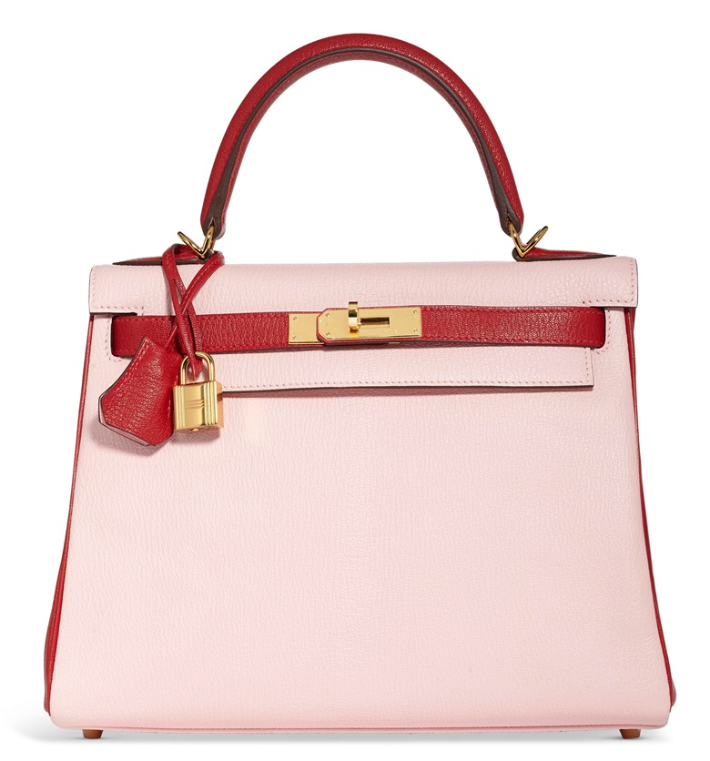 A custom Rose Sakura & Rouge Garance chèvre leather Sellier Kelly 28 with gold hardware, Hermès, 2016, Grade 1. Estimate $10,000-$15,000.  Offered in Handbags & Accessories Online, 28 May-14 June
