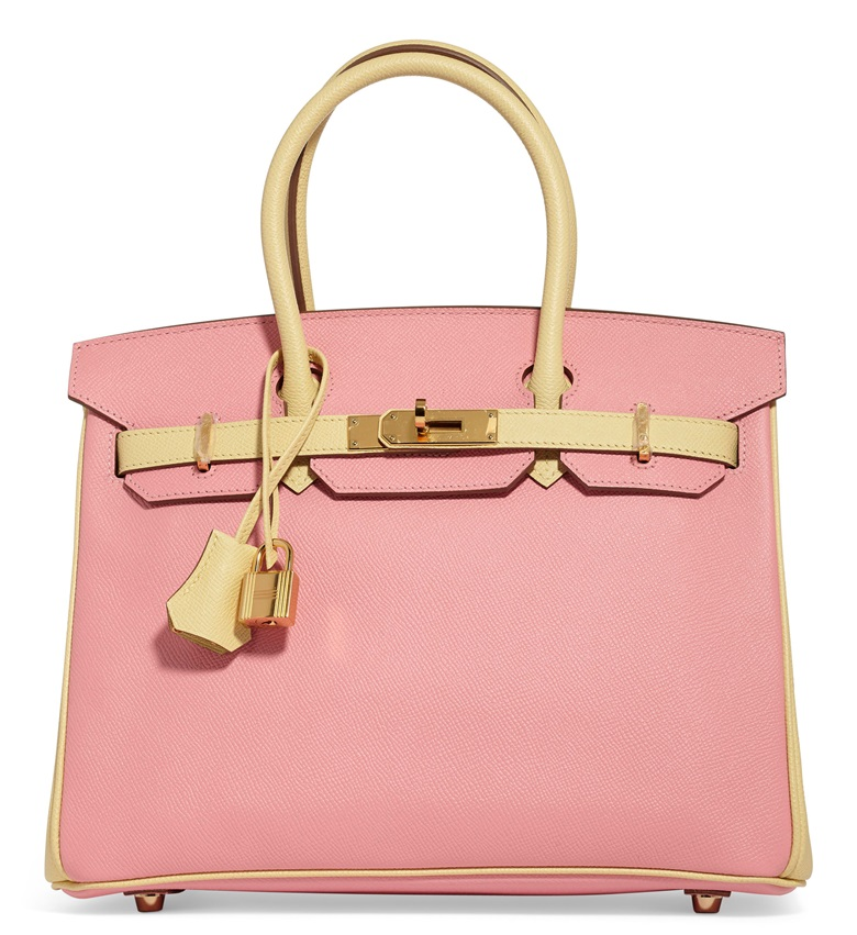 A custom Rose Confetti and Juane Poussin Epsom leather Birkin 30 with gold hardware, Hermès, 2015. Estimate $12,000-15,000. Offered in Handbags & Accessories Online 28 May-14 June