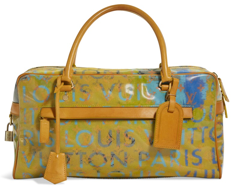 A limited edition denim & jaune Patent Defile Weekender PM by Richard Prince, Louis Vuitton, 2007. 40 w x 20 h x 13 d cm. Sold for $1,000, 28 May-14 Jun 2019, Online