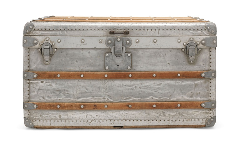 A rare, aluminium explorer trunk, Louis Vuitton, 1892. 75 w x 43 h x 42 d cm. Sold for £162,500 on 12 December 2018 at Christie's in London