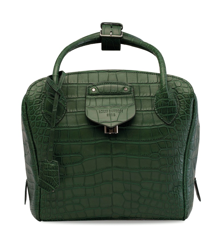 A custom matte dark green niloticus crocodile Haute Maroquinnerie Milaris GM with silver hardware, Louis Vuitton, 2000s. 28 w x 24.5 h x 17.5 d cm.