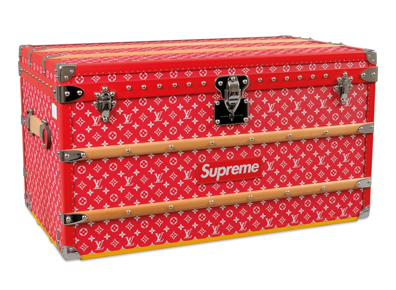 A limited edition red & white monogram Malle Courrier 90 trunk with silver hardware by Supreme, Louis Vuitton, 2017. 90 w x 51 h x 48 d cm. Sold for HK$1,375,000 on 29 May 2019 at Christie's in Hong Kong