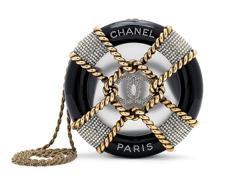 A Métiers d'Art runway Paris-Hamburg black lucite, strass & gold rudder evening bag, Chanel, 2018. 17 w x 17 h x 4.5 d cm. Sold for £8,125 on 11 June 2019 at Christie's in London