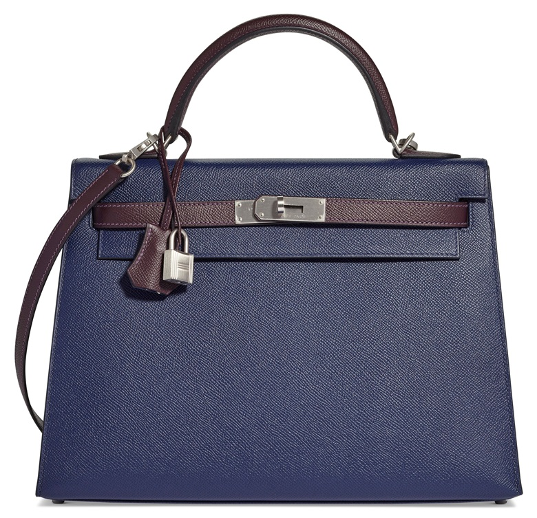 4e06d9ed6be7b A custom bleu tempete   prune epsom leather Sellier Kelly 32 with brushed  palladium hardware
