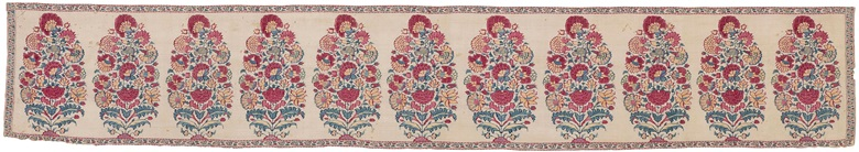 A very fine shawl border fragment (dochalla palla), Mughal India, 17th century. 8⅝ x 52¾ in (22 x 134 cm). Estimate £4,000-6,000. Offered in An Important Private Collection of Kashmir Shawls, 11-18 June 2019, Online