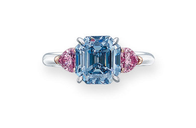 Elegant fancy blue diamond ring. Estimate HK$38,000,000-55,000,000. Offered in Hong Kong Magnificent Jewels on 28 May 2019 at Christie's in Hong Kong
