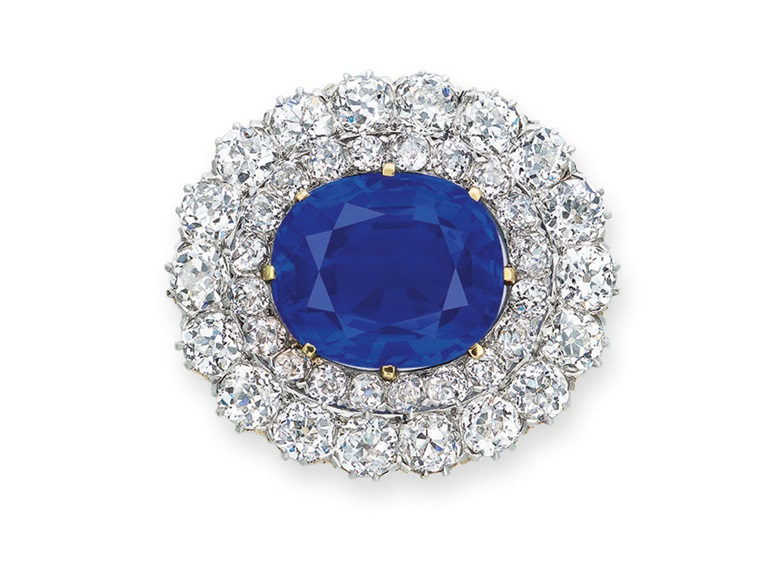 Superb sapphire and diamond brooch. Estimate HK$32,000,000-50,000,000. Offered in Hong Kong Magnificent Jewels on 28 May 2019 at Christie's in Hong Kong