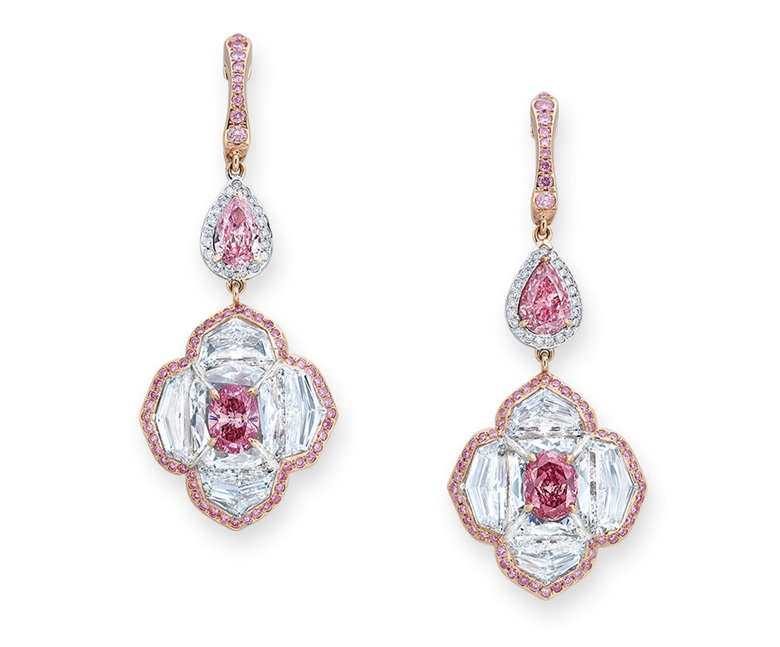 Elegant coloured diamond and diamond earrings, Edmond Chin for the House of Boghossian. Estimate HK$1,600,000-2,500,000. Offered in Hong Kong Magnificent Jewels on 28 May 2019 at Christie's in Hong Kong