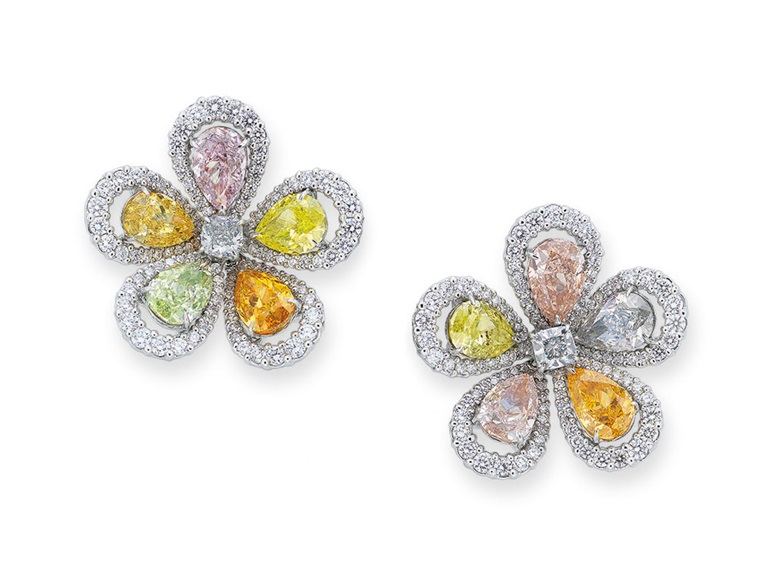 Coloured diamond and diamond earrings. Sold for HK$2,500,000 on 28 May 2019 at Christie's in Hong Kong