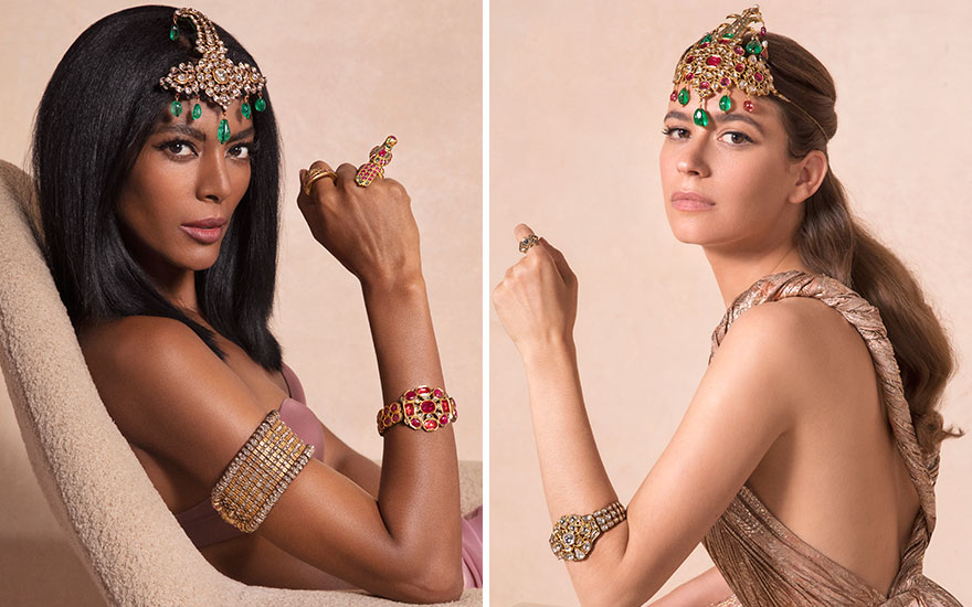Maya (left) wears an antique diamond, emerald and enamel sarpech; an antique ruby, diamond and enamel bracelet; an antique ruby, emerald and gold hawking ring; and a gem-set gold archer's ring.