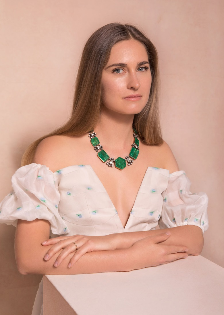 Lauren wears an antique emerald and diamond sarpech. Estimate $200,000-400,000. Offered in Maharajas & Mughal Magnificence on 19 June 2019 at Christie's in New York