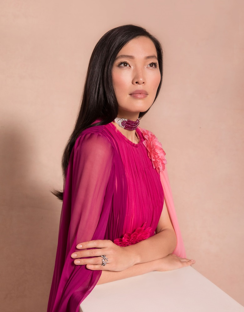 Xin wears 'The Patiala Ruby Choker', an Art Deco ruby, diamond and natural pearl choker necklace, Cartier. Estimate $800,000-1,200,000. Offered in Maharajas & Mughal Magnificence on 19 June 2019 at Christie's in New York