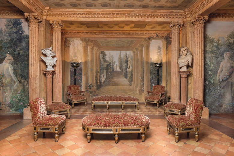 The London ballroom's frescoes were inspired by the Villa Falconieri in Rome. A set of four Italian parcel-gilt and ebonised side chairs and a matching large stool, supplied by Renzo Mongiardino, circa 1986. Estimate £4,000-6,000. An Italian alabaster bust of veiled lady with bonnet, By Antonio Frilli (Italian, -1892), dated 1895. Estimate £700-1,000. A French