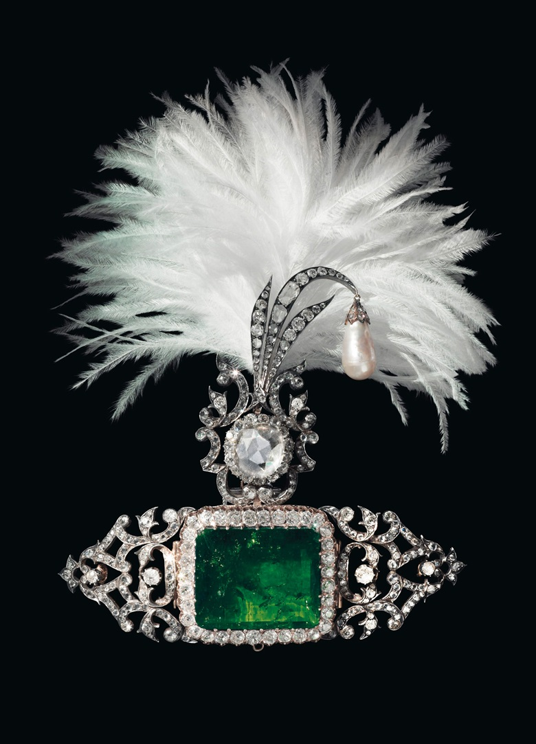 An antique emerald, diamond and pearl sarpech. Estimate $700,000-1,000,000. Offered in Maharajas & Mughal Magnificence on 19 June 2019 at Christie's in New York