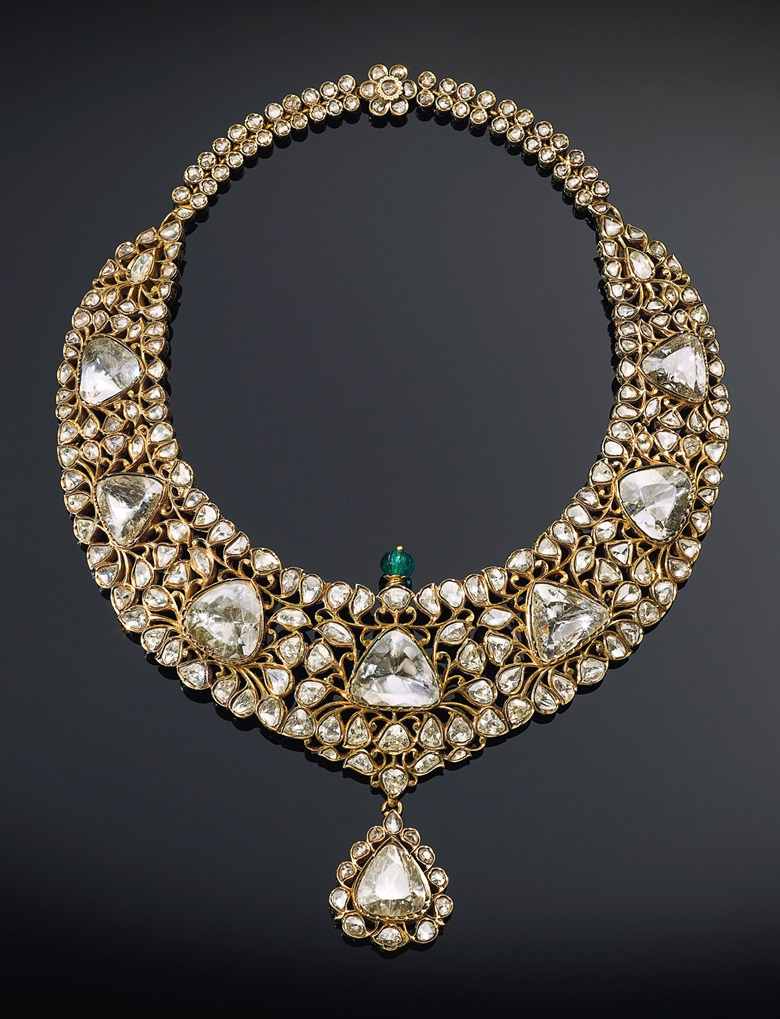 The Nizam of Hyderabad necklace, an antique diamond, emerald and enamel necklace. Late 19th century. Estimate $1,500,000-2,500,000. Offered in Maharajas & Mughal Magnificence on 19 June 2019 at Christie's in New York