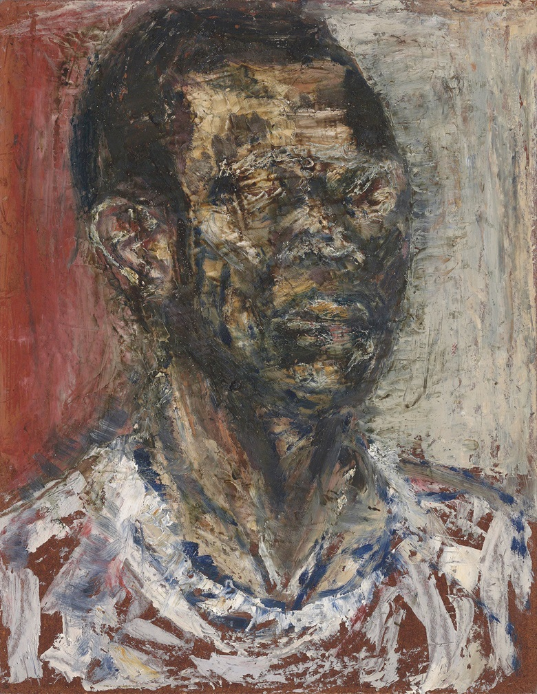 Frank Bowling, R.A. (b. 1934), Self-portrait, 1959. Oil on board. 18 x 14 in (45.7 x 35.6 cm). Sold for £443,250 on 18 June 2019 at Christie's in London