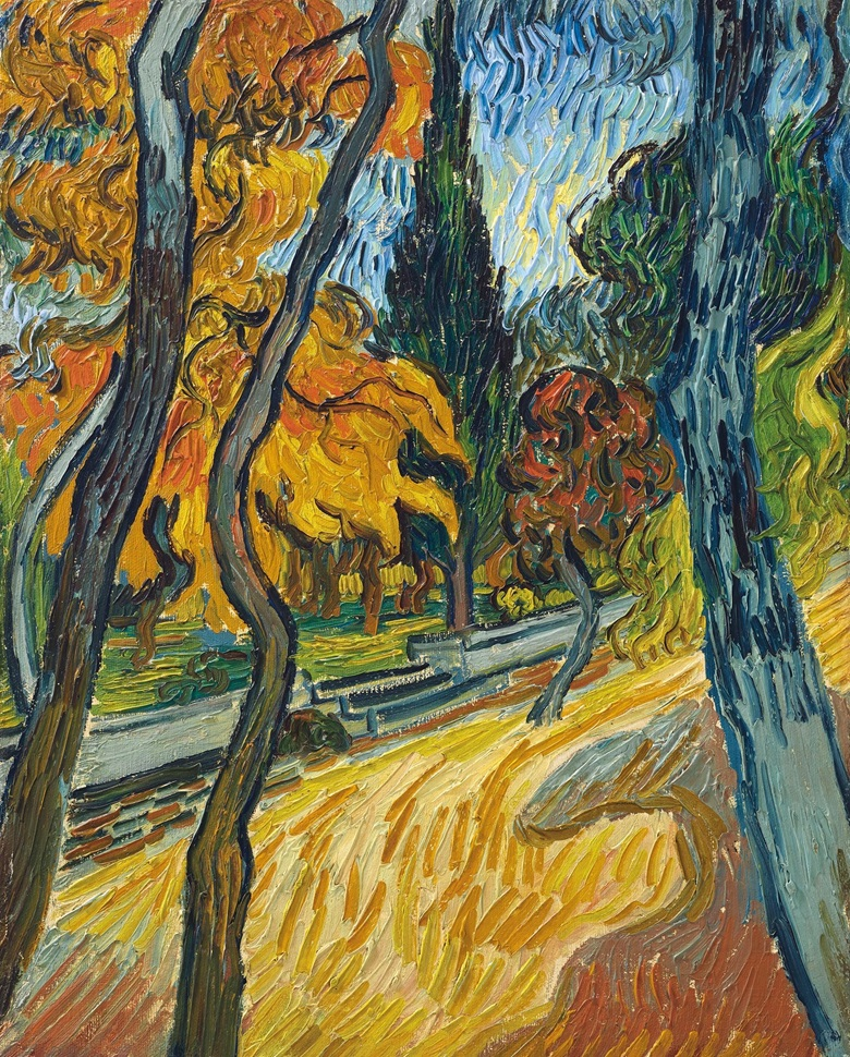 Vincent van Gogh (1853-1890), Arbres dans le jardin de l'asile, 1889. Oil on canvas. 16¼ x 13¼ in. Sold for $40,000,000 in the Impressionist and Modern Art Evening Sale on 13 May at Christie's in New York