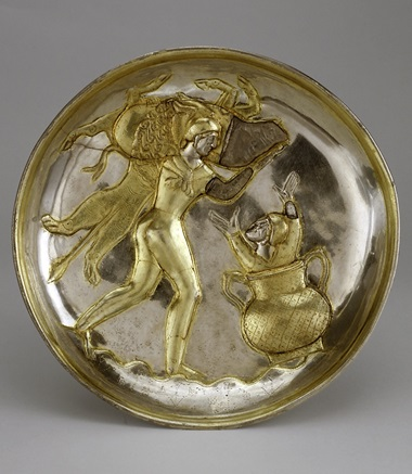 A Sasanian parcel-gilt silver plate, circa 5th-7th century AD, 19.9 cm diameter, from the Ortiz Collection
