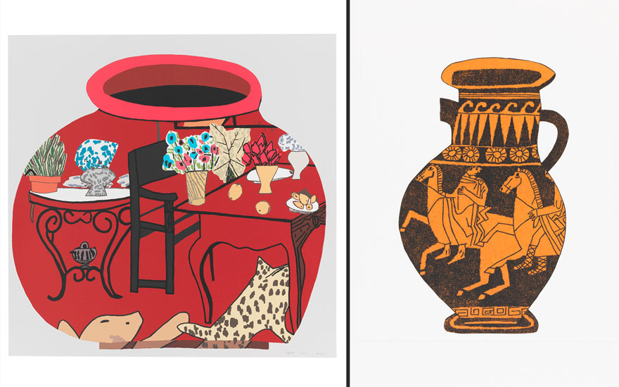 (Left to right) Jonas Wood (b. 1977). Matisse Pot 1, 2017. Screen-print in colors, on Rising Museum Board, Sheet 27½ x 28 in. Estimate $18,000-25,000; Jonas Wood (b. 1977). 8 Pots, 2017. The complete