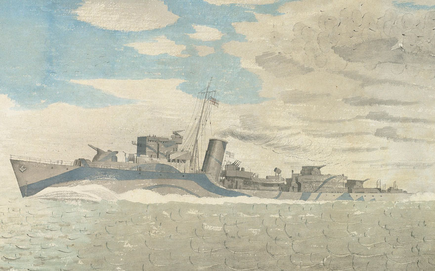 (Detail) Eric Ravilious (1903-1942), HMS Tetcott, 1941. Pencil and watercolour on paper. 16 x 22¼ in (40.6 x 56.5 cm). Estimate £60,000-80,000. Offered in the Modern British Art Day