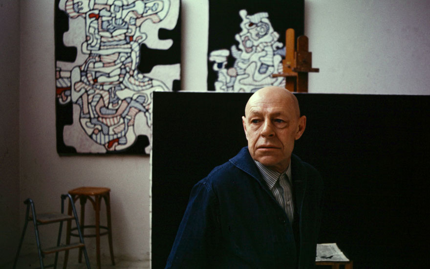 Jean Dubuffet in his studio at Vence, South of France, in 1966. Photo Edward Quinn, © edwardquinn.com. Artworks © Jean Dubuffet, DACS 2019