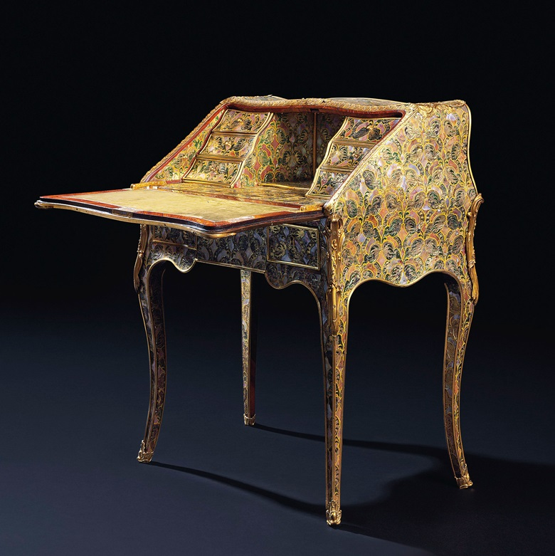 A rare German ormolu-mounted mother-of-pearl, green and gilt painted silver foil, rosewood and bois satine bureau de pente, Attributed to Franz Zeller, circa 1750-60. 37½ in (95.2 cm) high; 31 ¾ in (80.5 cm) wide; 17¾ in (45 cm) deep