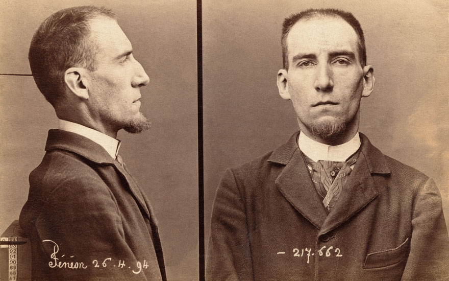 Félix Fénéon's police mugshot from 1894 after he had been accused of murdering the French President. Photo Coll. B. Garrett  adoc-photos