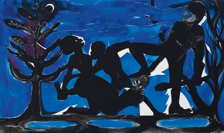 Kara Walker (b. 1969), Four Idioms on Negro Art #4 Primitivism, 2015. 72 x 122⅛ in (182.9 x 311 cm). Sold for £395,250 on 25 June 2019 at Christie's in London © Kara Walker