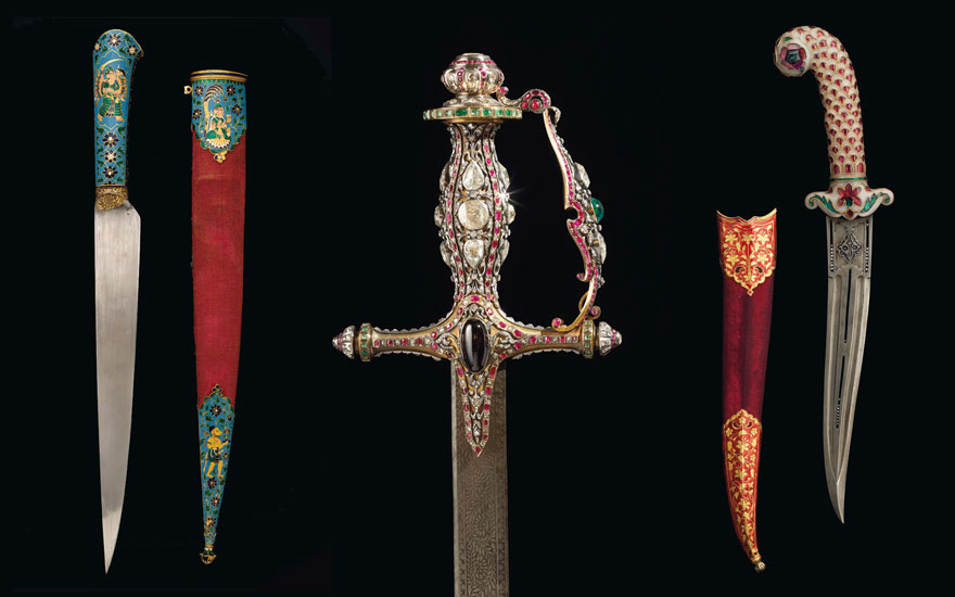 Jewelled daggers and ceremonial swords from Mughal India