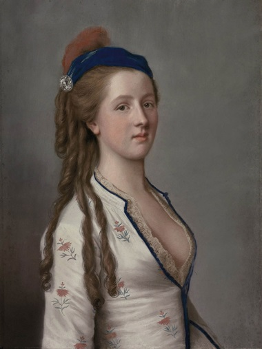 Attributed to Jean-Étienne Liotard (1702-1789), Portrait of Lady Ann Somerset, Countess of Northampton, half-length, wearing a floral dress with a lace shirt and a blue hat with a red feather. Pastel on vellum. 23⅞ x 18  in (60.7 x 45.7  cm). Sold for $242,500 on 25 January 2012 at Christie's in New York