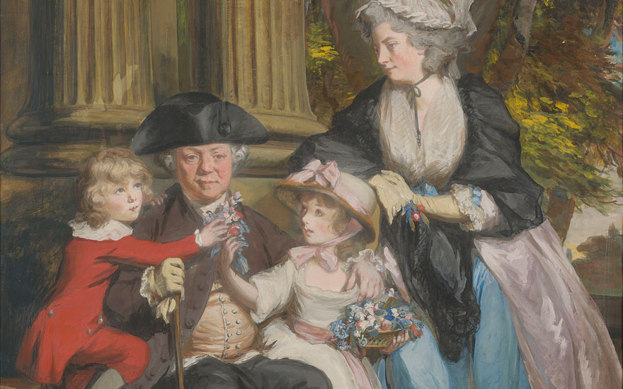 (Detail) Daniel Gardner, A.R.A. (1750-1805), Andrew Grote (1710-1788) with wife Mary Anne Culverdon (1740-1797) and children, William and Marianne, with their spaniel. Pencil, watercolour,