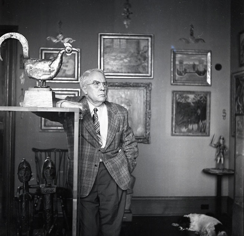 Albert C. Barnes, founder of The Barnes Foundation, photographed circa 1946 alongside the 17th-century Steeple Cock (Coq de clocher), by an unidentified artist. Photograph Collection, Barnes Foundation Archives, Philadelphia, PA. Image © 2019 The Barnes Foundation