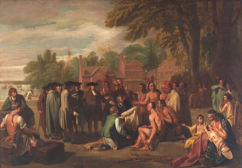 Benjamin West, Penn's Treaty with the Indians, 1771-1772. Pennsylvania Academy of the Fine Arts, Gift of Mrs Sarah Harrison (The Joseph Harrison Jr. Collection). Photo Pennsylvania Academy of the Fine Arts