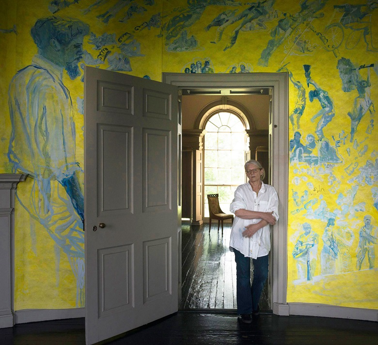 Artist Jane Irish on the second floor of Jane Irish Antipodes, a 2018 installation at Lemon Hill, Fairmount Park for Philadelphia Contemporary in partnership with Philadelphia Parks & Recreation, Fairmount Park Conservancy, and the Friends of Lemon Hill. Photo Nicolas Tosi, courtesy of Locks Gallery