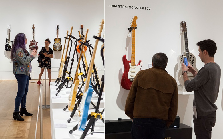 Fans view David Gilmour's guitars at Christie's Rockefeller Center HQ in New York