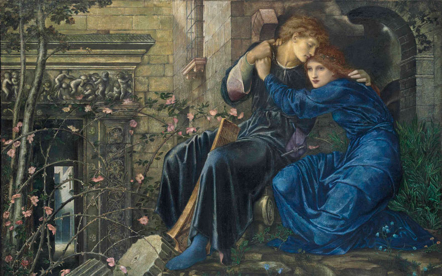 Sir Edward Coley Burne-Jones, Bt., A.R.A., R.W.S. (1833-1898), Love among the Ruins (detail). 38 x 60  in (96.5 x 152.4  cm). Sold for £14,845,875 on 11 July 2013 at Christie's in London