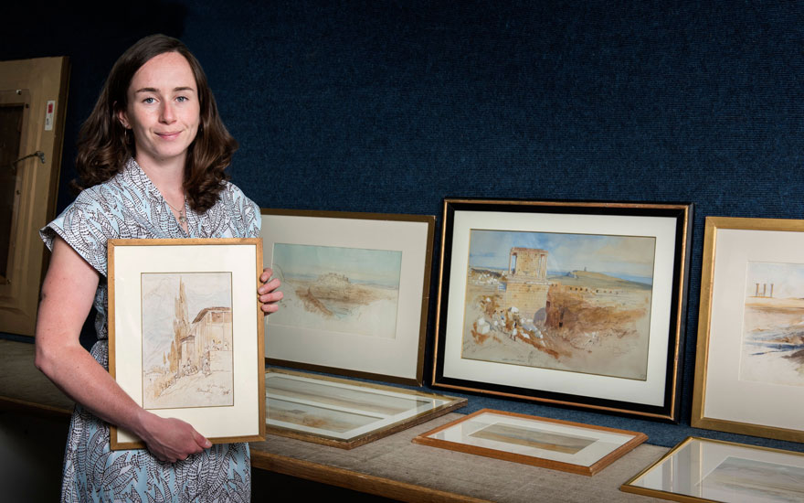 Specialist Annabel Kishor with a selection of 16 works by Edward Lear offered in Old Master and British Drawings and Watercolours Including Works from the Collection of Jean Bonna on 2 July 2019 at