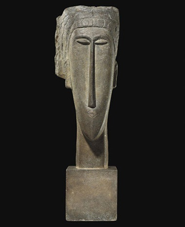 Amedeo Modigliani (1884-1920), Tête, 1910-12. Limestone. Height 64  cm (25¼  in). Sold for €43,185,000 on 14 June 2010 at Christie's in Paris