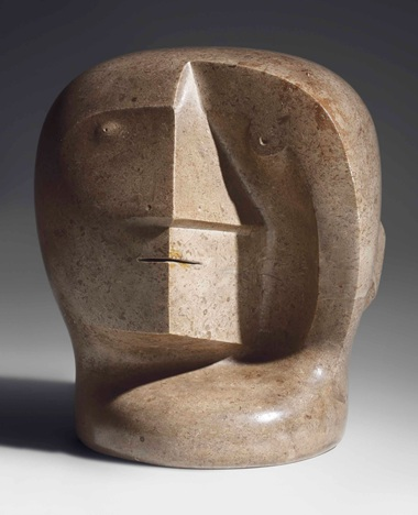 Henry Moore, (1898-1986), Head, circa 1934-36. Hopton wood stone. 10⅝  in (27  cm) high. Sold for £4,621,250 on 19 June 2018 at Christie's in London