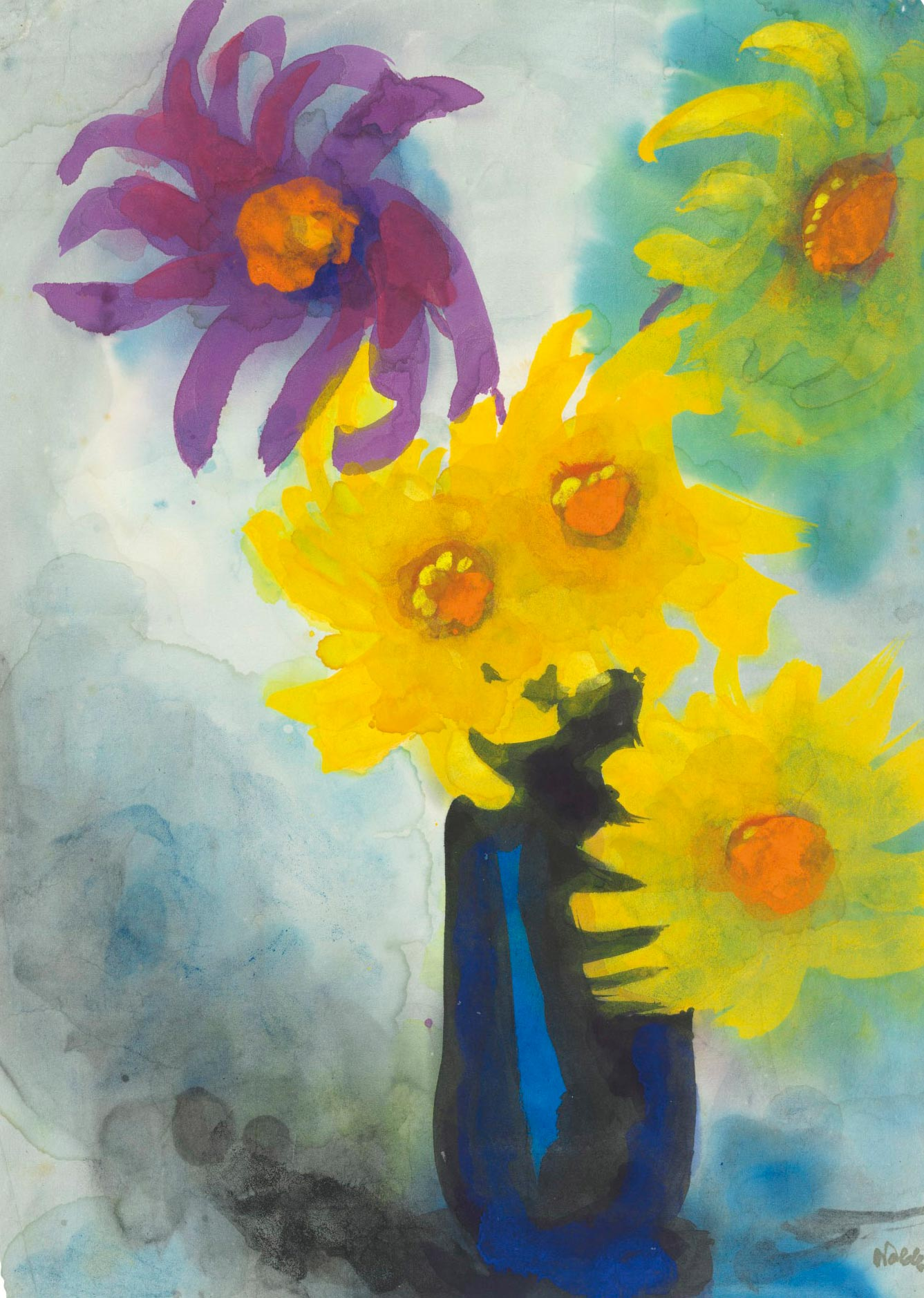 Emil Nolde (1867-1956), Dahlien (gelb un violett) in blauer Vase, Executed circa 1930-1935. Estimate £60,000-80,000. This work is offered in the Impressionist & Modern Art Works on Paper Sale on 19 June at Christies London.