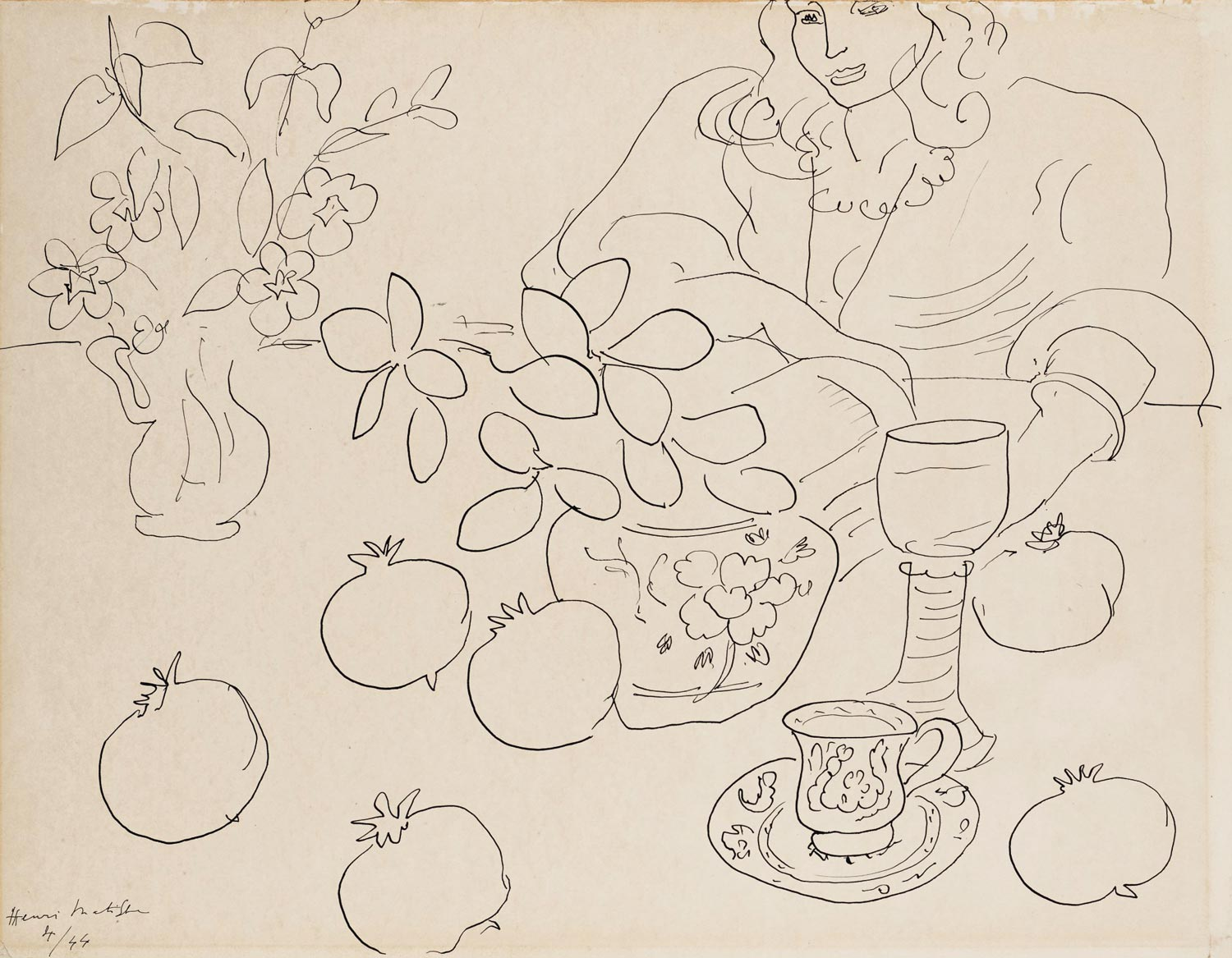 Henri Matisse (1869-1954), Scène dintérieur, Drawn in April 1944. Estimate £250,000-350,000. This work is offered in the Impressionist & Modern Art Works on Paper Sale on 19 June at Christies London.