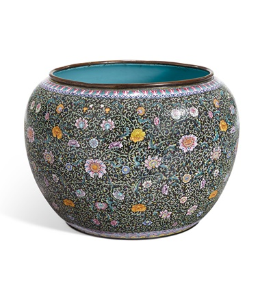 A chinese enamel-on-copper large jardiniere, Qing dynasty, 19th century. 24 in (60.9 cm) diameter. Estimate $2,000-3,000. Offered in Interiors on 21-22 August 2019 at Christie's in New York