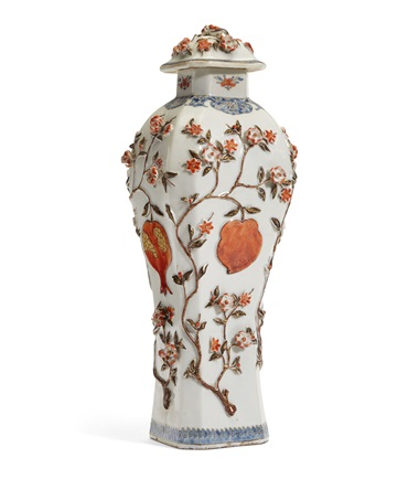 A Chinese iron-red and blue enamel vase and cover, Qianlong period, third quarter 18th century. 13¾ in (34.8 cm) high. Estimate $1,000-1,500. Offered in Interiors on 21-22 August 2019 at Christie's in New York