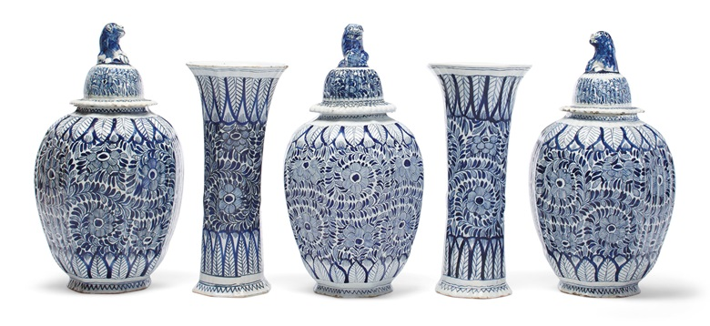 A Dutch delft blue and white five-vase garniture, Late 18th19th century, blue numerals. 17¼ in (43.8 cm) high, the tallest. Estimate $3,000-5,000. Offered in Interiors on 21-22 August 2019 at Christie's in New York