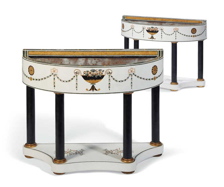 A pair of Italian inlaid marble D-form jardinieres, 20th century. 40¼ in (102.2 cm) high, 49¼ in (125 cm) wide, 20½ in (52.1 cm) deep. Estimate $5,000-8,000. Offered in Interiors on 21-22 August 2019 at Christie's in New York