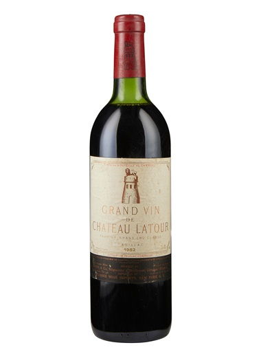 Château Latour 1982, Pauillac, 1er cru classé. 5 bottles per lot. Estimate $5,000-7,500. Offered in Christies Wine OnlineNYC, 16-30 July 2019, Online