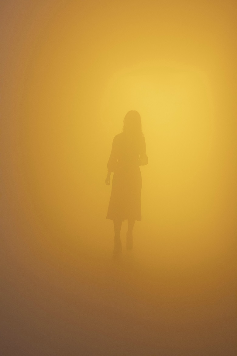 Olafur Eliasson, Din blinde passager (Your blind passenger), 2010. Fluorescent lamps, monofrequency lamps (yellow), fog machine, ventilator, wood, aluminium, steel, fabric, plastic sheet. Dimensions variable. Installation view Tate Modern, London, 2019. Photo Anders Sune Berg Courtesy of the artist; neugerriemschneider, Berlin; Tanya Bonakdar Gallery, New York  Los Angeles. © 2010 Olafur